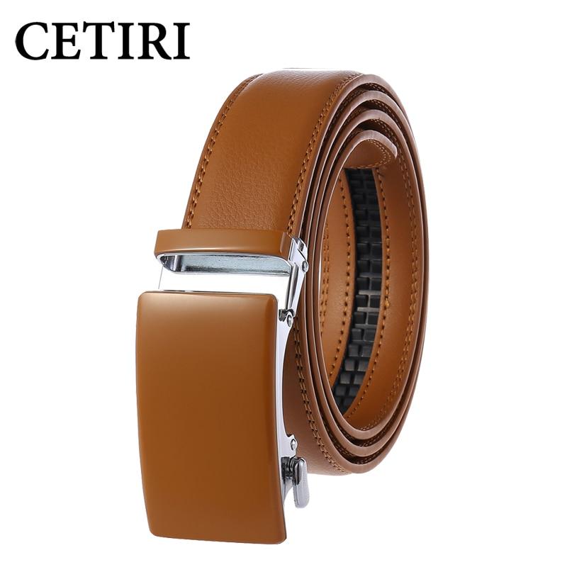 Men Belt Cowhide Genuine Leather Luxury Automatic Buckle Belts Brown Black