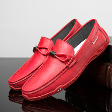 Handmade Men Loafers Shoes Red Slip On Drive Shoes Mens Non-Slip Rubber Flats Men Sneakers Comfortable Fashion Pu Leather Shoes