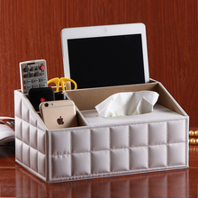 multifunctional leather tissue box cosmetics remote control storage desktop paper pumping fashion