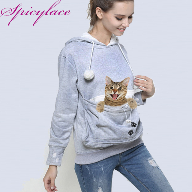 Women Cat Lovers Kangaroo Dog Pet Paw Emboridery Pullovers Cuddle Pouch Sweatshirt