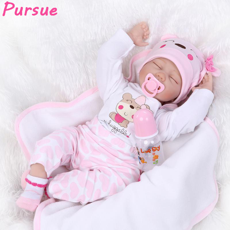 Pursue Sleeping Reborn Babies Silicone Baby Dolls Toys for Children Girls Educational Toys bebe reborn menina de silicone menina pursue pink brown silicone reborn baby dolls toys for girls 100 handmade reborn babies reborn boneca bebes reborn menina 55cm