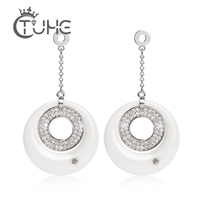 Temperament Long Pendant Earring For Women Dress Luxury Australian Crystal Ceramic Circle Necklace Jewelry Clothing& Accessories