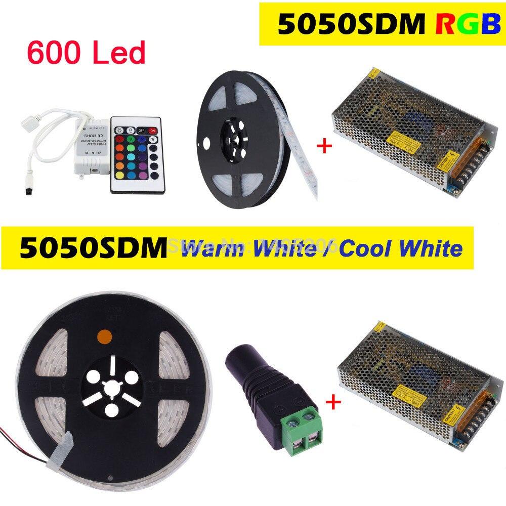 5 M 120 LED s/m Double rangée SMD 5050 LED bande RGB blanc chaud blanc froid flexible lumière 12 V Tube de boîtier diode LED bande + 150 W adaptateur