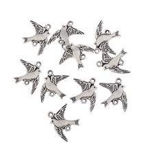 TJP 20pcs Antique Silver Tone Bird Swallows Connectors Charms Pendants Beads for DIY Bracelet Jewelry Making Findings 21x16mm