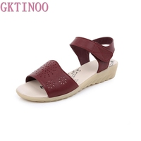 GKTINOO Women Sandals Soft Genuine Leather Large Size Flat Sandals Summer Casual Comfortable Non Slip Women