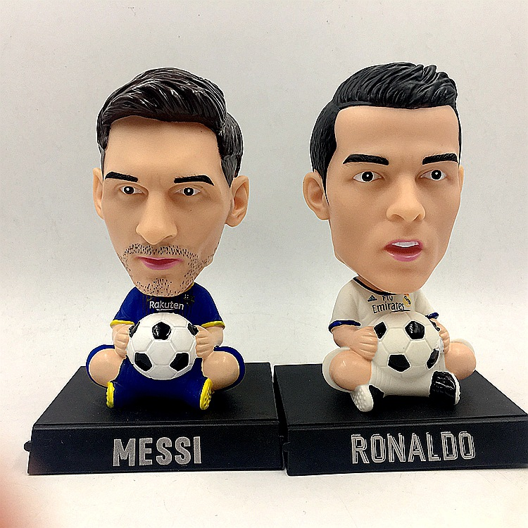 [Top] 14cm Shaking head Madrid Cristiano Ronaldo and Barcelona Messi Action Figure Jersey Football star model Car decoration toy