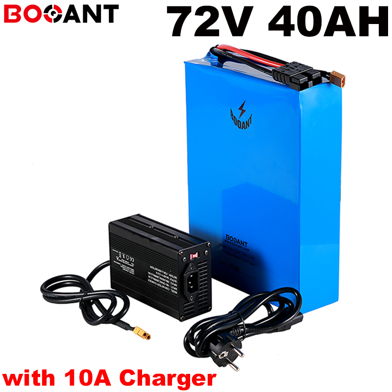 72V electric bike lithium battery 72V 40AH E-bike battery for Panasonic 18650 cell 72V 2000W 3000W 5000W with 10A Charger image