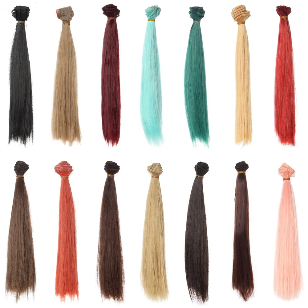 1pcs doll hair 25cm green brown khaki blue grey red color long straight for 1/3 1/4 1/6 BJD facbric doll wig