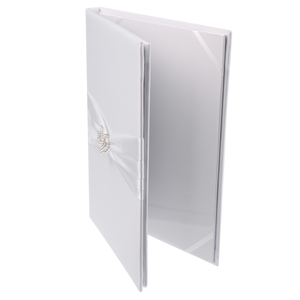 Delicate White Wedding Marriage Certificate Holder Cover Satin Heart-shaped Rhinestone Wedding Oath Book With Lovely Satin Rib