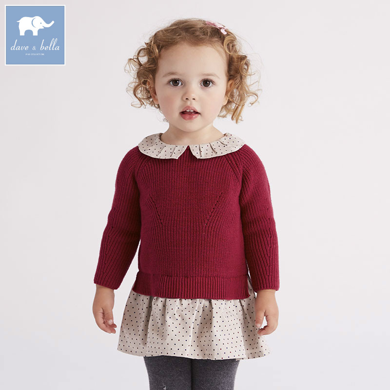 DB6215 dave bella infantile bébé filles robe de princesse enfants mode vêtements d'anniversaire enfants enfant en bas âge tricoté robe pull