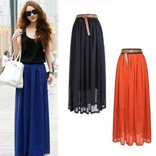 Women Double Layer Chiffon Pleated Retro Long Maxi  Elastic Waist Skirt