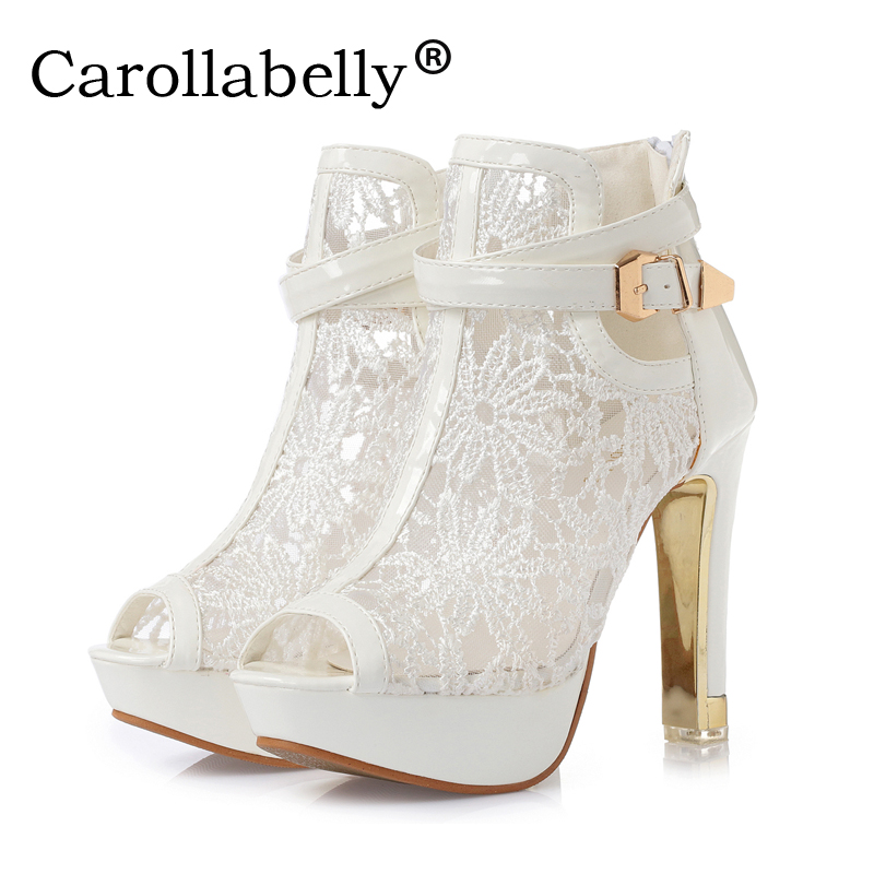 Carollabelly Fashion Peep Toe Sandals Sexy Women Platform Pumps Lace Mesh Thick High Heels Shoes Summer Ankle Boot 2016 summer peep toe thin thick high heels pumps with platform rhinestones buckle sandals women pu pink white blue sexy shoes