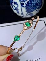 Natural green Emerald gem Bangles Natural gemstone Bangles 18k rose gold bracelet grace water drop Eye women party gift jewelry