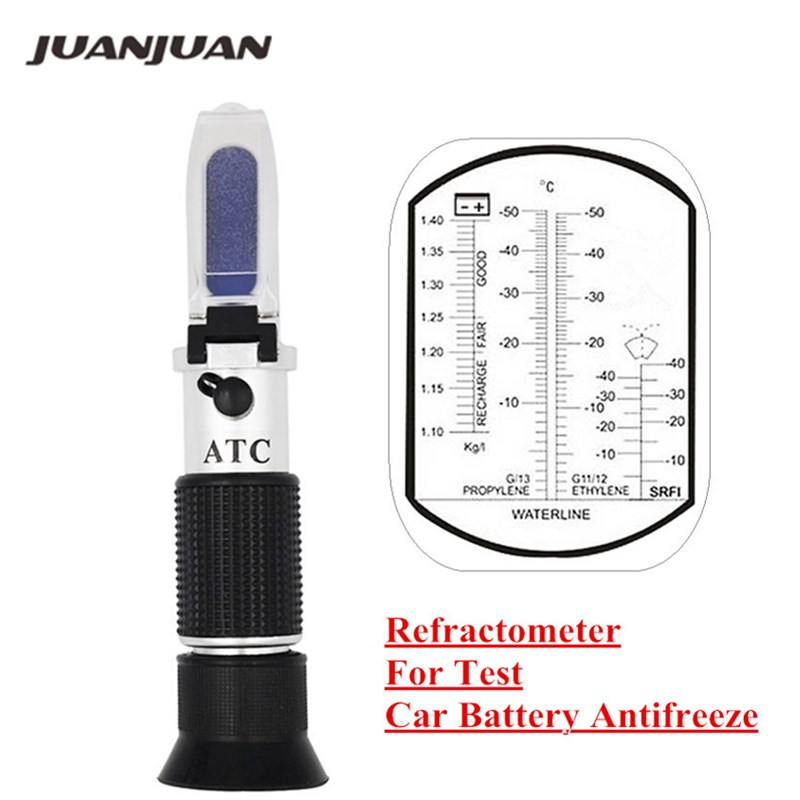 Mano del motor líquido glicol punto Refractómetro con ATC de herramienta de batería de coche anticongelante congelación 20%