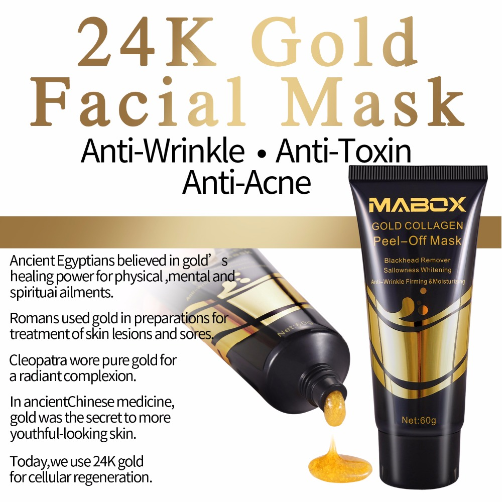 MABOX 24K Remove Blackhead Gold Mask Shrink Pore Improve Rough Skin Care Acne Mask Facial Moisturizing Anti Wrinkle Anti Aging in Treatments Masks from Beauty Health