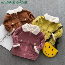 Winter Infant Girls Long Sleeve Vintage Corduroy Lapel Collar Thick Fleece Baby