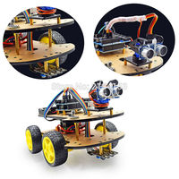 Mini Breadboard Multi Function 4WD Robot Car Kits Ultrasonic Module UNO R3 MEGA328P Robot Car Assembly