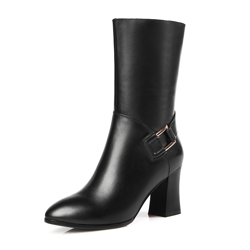 Handmade Black Full grain leather Mid-calf Fashion Boots Zip Round Toe Women boots Square heels shoes woman double buckle cross straps mid calf boots