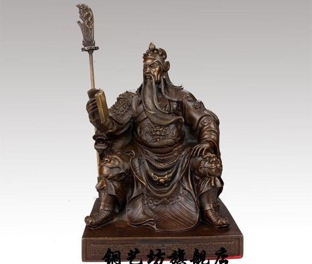 9u0027u0027China Warrior Guardian Ancient General Guangong Guan Yu Dragon Bronze  Statue