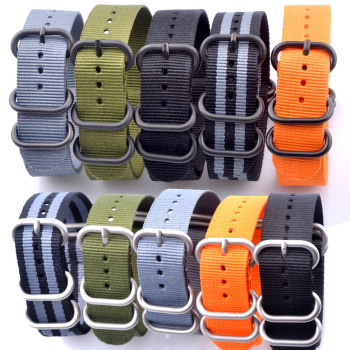 Men Women Heavy duty nylon straps 20mm 22mm 24mm Nylon Watch Band Strap NATO zulu strap 5 rings buckle Army Orange