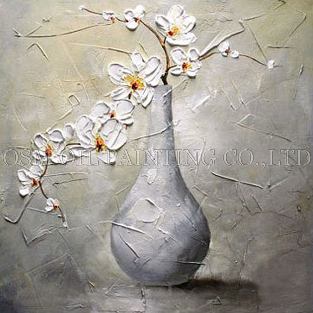Skilled Artist Handmade High Quality Modern Vase Flower Oil Painting