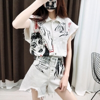 2019 Playsuits Romper Women Graffit Print Hight Street Overalls Denim Casual New white Playsuits Jumpsuit H92
