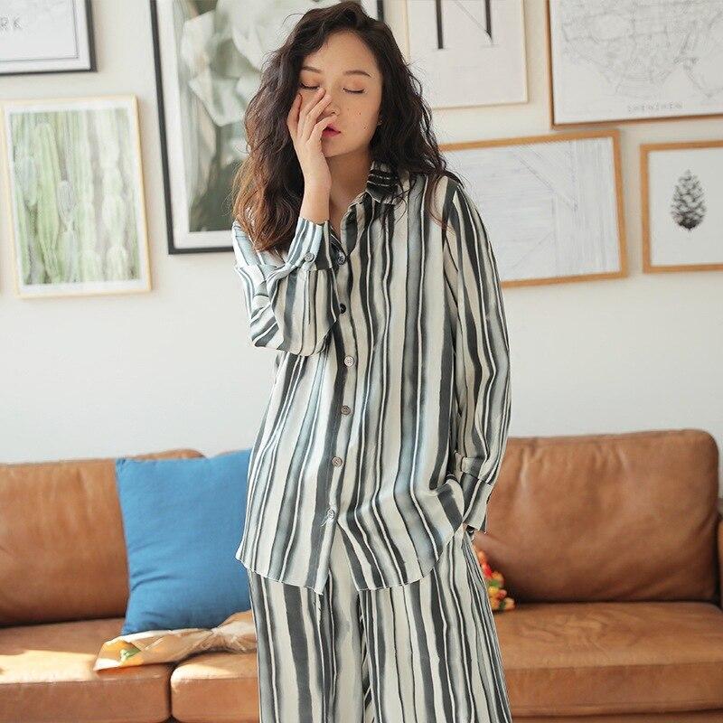 2019 New Sleepwear Spring Thin Fashion Leisure Loose Silk Pijama Mujer Long Sleeve Striped   Pajamas   for Women Printing   Pajama     Set