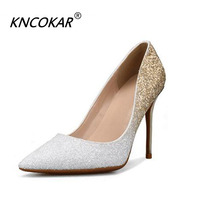 KNCOKAR New style elegant party sexy pointed sequins women stiletto high heels shallow mouth wedding shoes show shoes