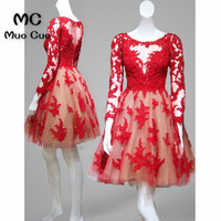 Элегантное красное домашнее платье 2018, короткое платье трапециевидной формы с длинными рукавами, выпуск коктейлей для выпускного вечера