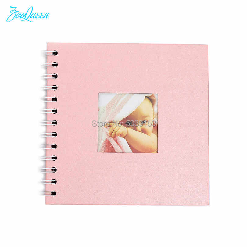 Baby Pink DIY Simple Photo Album Scrapbook Clear Stamps Instax Stickers Graduation Paper Album it is a Boy Girl Kid's Picture