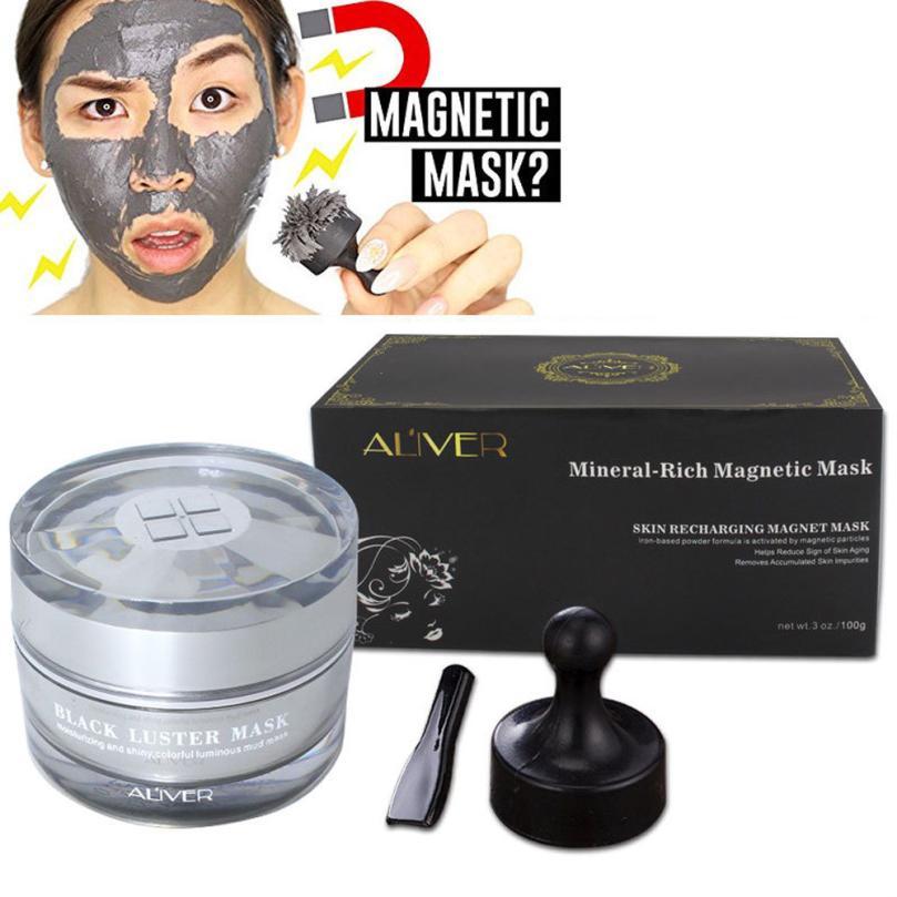 2018 nueva llegada Mineral rico magnético mascarilla poro limpieza elimina las impurezas de la piel mascarilla de algas marinas máscara + espátula + imán