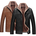 Russian Winter Mens Thick Leather Jackets Business Casual Leather Jacket Lapel Fur Lined Top Quality Warm PU Coats Plus Size 4XL