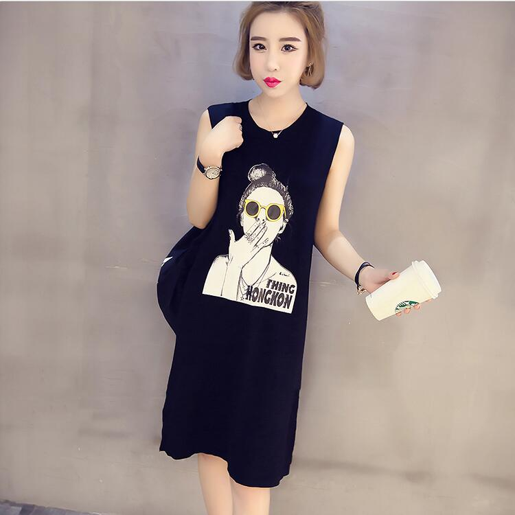 The new  2017  long loose  knitted cotton sleeveless  tank dress women plus size 5XL plain loose long sleeve plus size dress