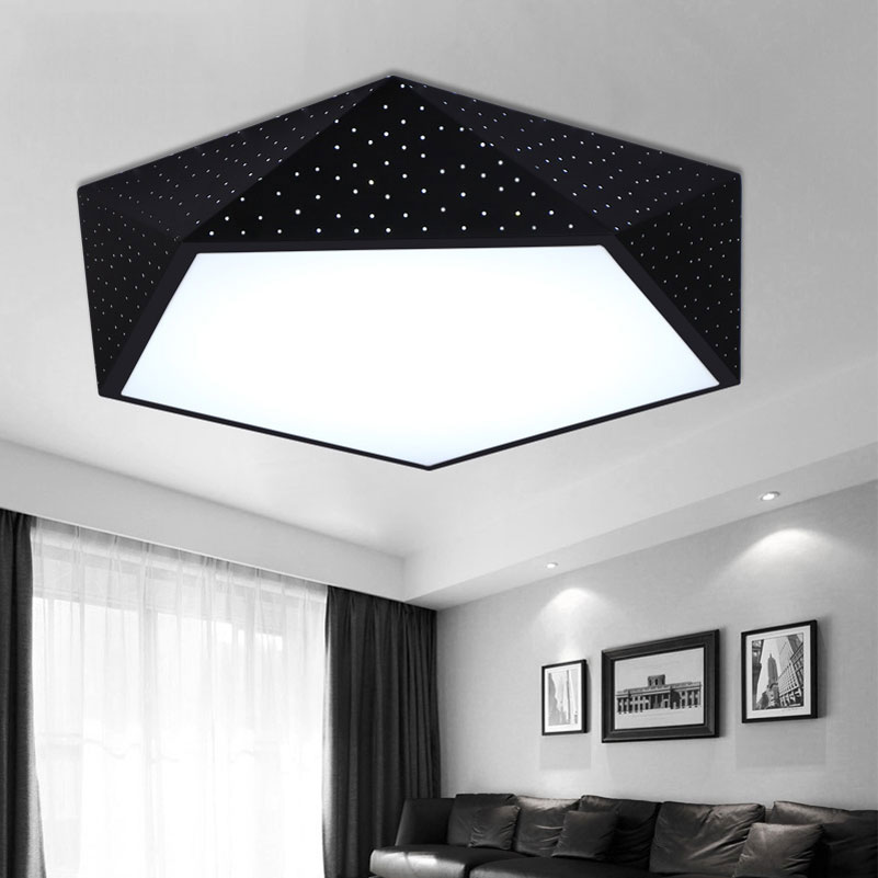 Ceiling Lights & Fans 100% Quality Creative Geometry Led Ceiling Light Ceiling Lamps For Bedroom Balcony Livingroom,hollow Black White 420mm 24w Domestic Lights Clients First