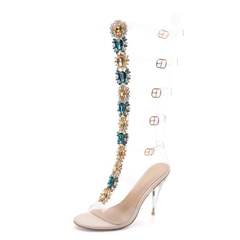 Bling Rhinestone Lady Knee High Boots Thin Heels Stiletto Woman Summer Sandal Boots Crystal Dress Shoes Pumps Bohemia Style B132