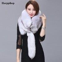 2017 Магнитный женский Настоящее Silver Fox Мех животных Для женщин теплый зимний шарф Высокое качество шаль оптовая/розничная продажа