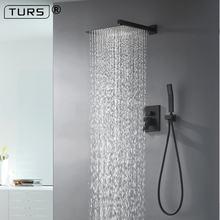 Латунный черный набор для душа смеситель ванной комнаты Потолочный