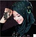 Elegante verde esmeralda Hijab musulmán velos nupciales de la boda árabe Dubai mujeres Headscarfs turbante de color burdeos con cuentas musulmán velo de la novia