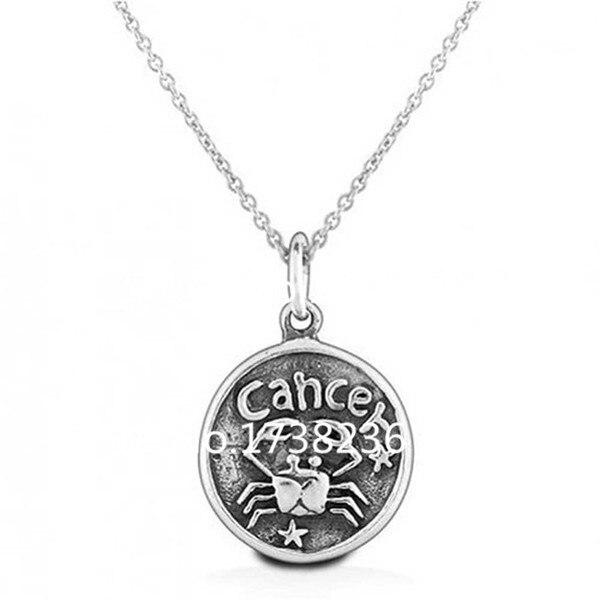 50 Pcs Sale Antique Silver Finish Alloy Cancer Zodiac Sign Necklace