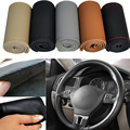"Genuine leather Car steering-wheel cover Universal 38cm 15"" hand-stitched Auto Steering Wheel Cover 5 color"