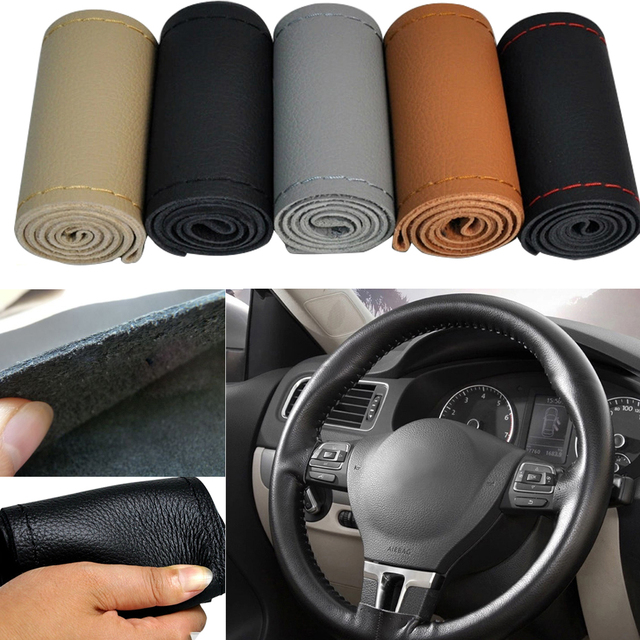 """Genuine leather Car steering-wheel cover Universal 38cm 15"""" hand-stitched Auto Steering Wheel Cover 5 color"""