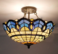 Tiffany Ceiling Lamp Glass Lamps of European Mediterranean style 30cm,40cm,50cm with E27 110 240V LED Ceiling Lights Luminarias