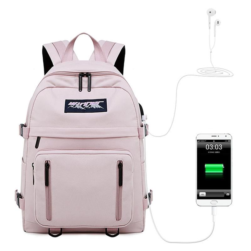 Fashion Waterproof Canvas Women USB Backpack Travel School Bag for Teenagers Girls 14 15.6 inch laptop Bookbag