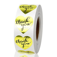 500Pcs/Lot Gold Heart Shaped Thank You Foil Stickers Labels for Wedding Anniversary Birthday Party Gift