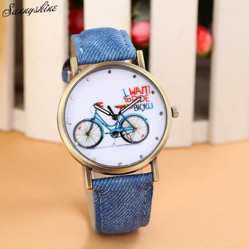 007ffae63cf Mulheres Da Moda Relógios Pulseira De Couro Denim F3 Relógio Bicicleta  Padrão relógio de pulso por atacado