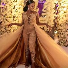 ТРАПЕЦИЕВИДНОЕ пляжное свадебное платье со съемным шлейфом, кружевной аппликацией, женские комбинезоны, свадебные платья размера плюс, Vestido De Novia