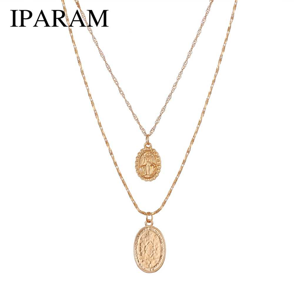 IPARAM Trendy fashion Religious Style Gold Chain Necklace Vintage Virgin Mary Pendant Necklace for Women Short Necklace 2pcs/set