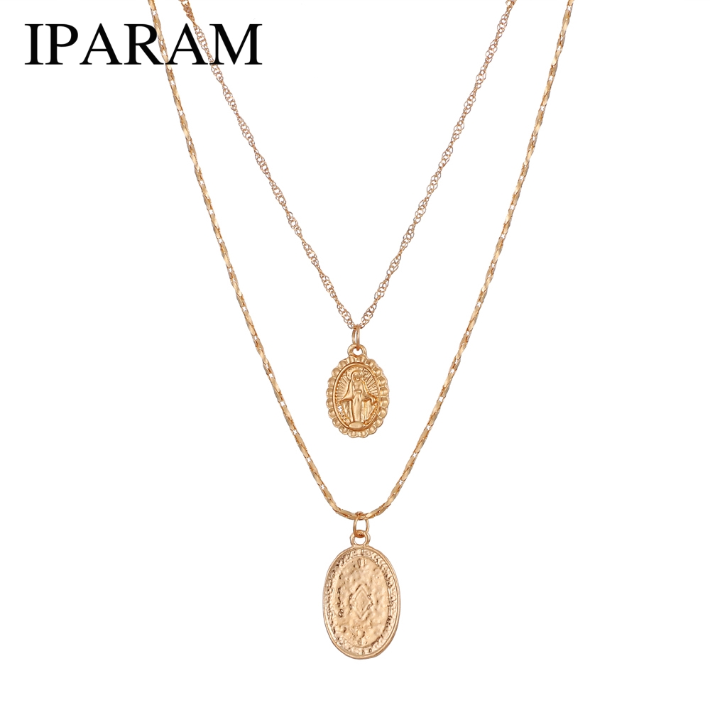 IPARAM Trendy fashion Religious Style Gold Chain Necklace Vintage Virgin Mary Pendant Necklace for Women Short Necklace 2pcs/set necklace
