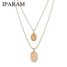 5e553cde09b3 IPARAM de moda estilo religioso collar de cadena de oro Vintage Virgen  María colgante de collar para las mujeres Collar corto 2 .
