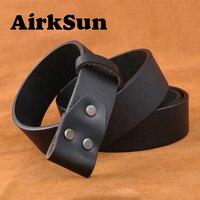 2017 130cm Vintage No Buckle Belt Designer Black Coffee Belts Men Luxury Cowskin Soild Genuine Only